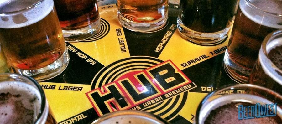 Flight of Beers at Hopworks Urban Brewery